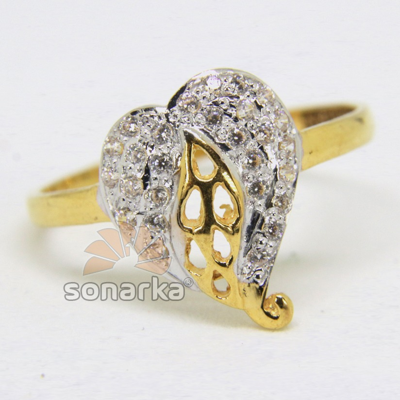 22ct 916 yellow Gold Casting CZ Diamond Ladies Ring Leaf Design