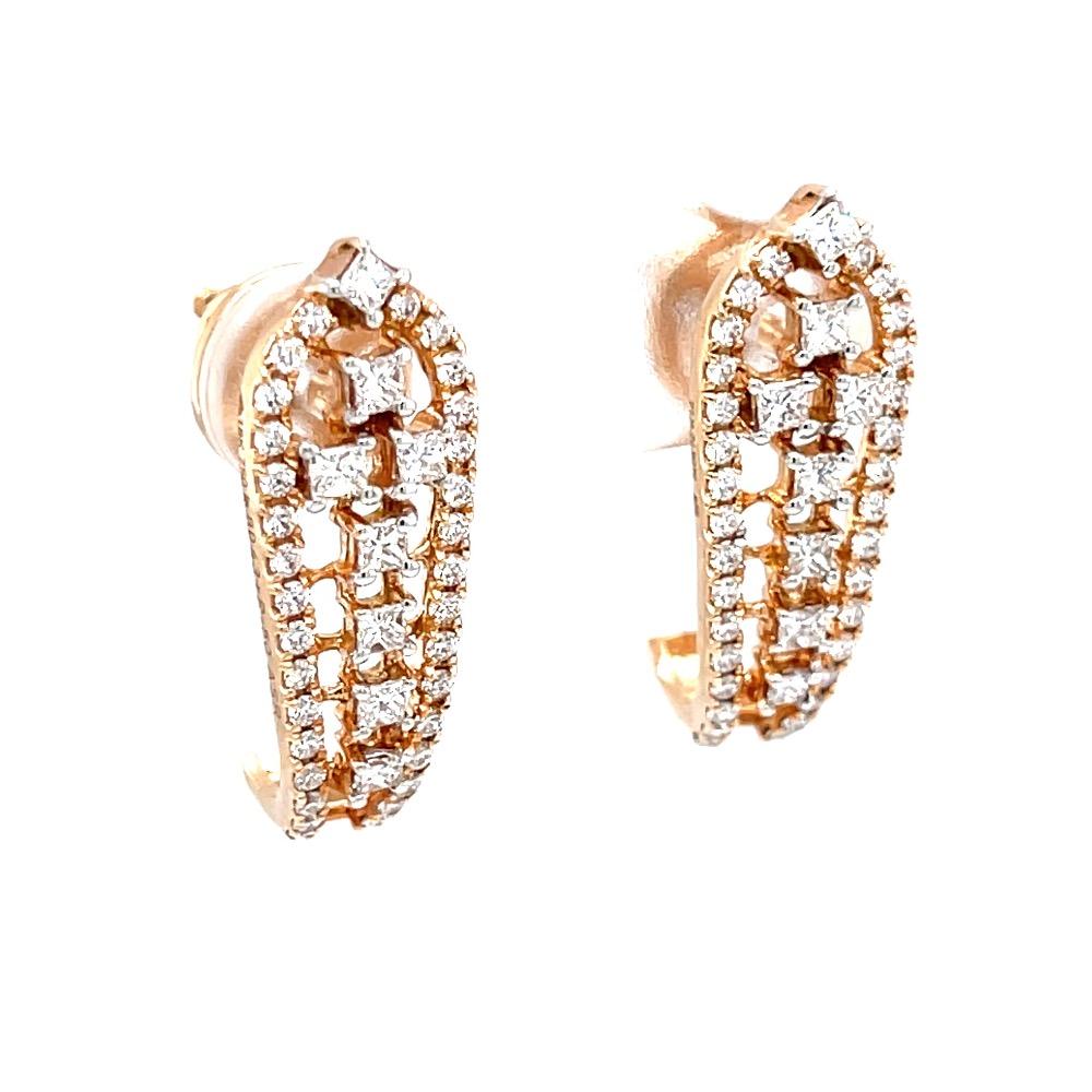 Diamond ear loops with round & princess cut diamonds 9top25