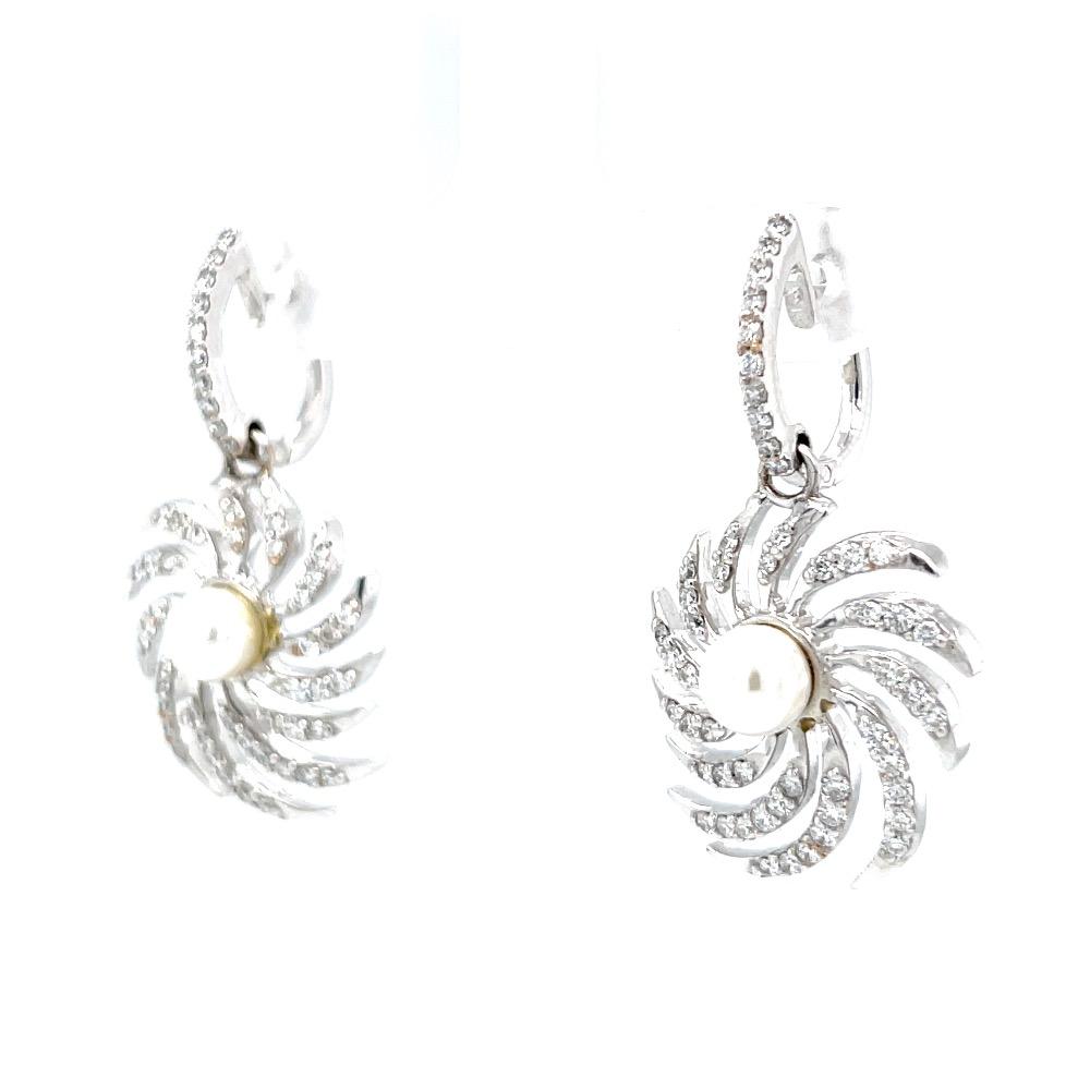 Chakri inspired drop with pearl & bali in hallmark white gold 8top14