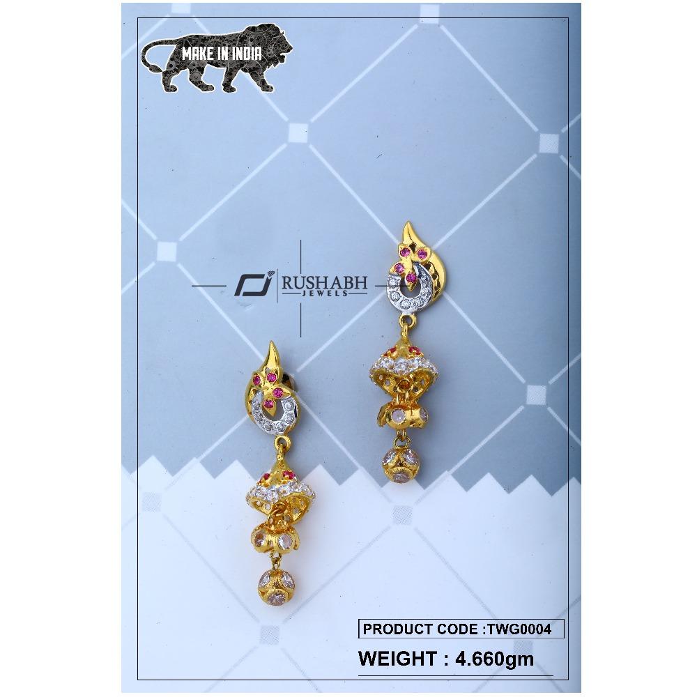 18 carat Gold ladies zummer  tops  long earrings twg0004