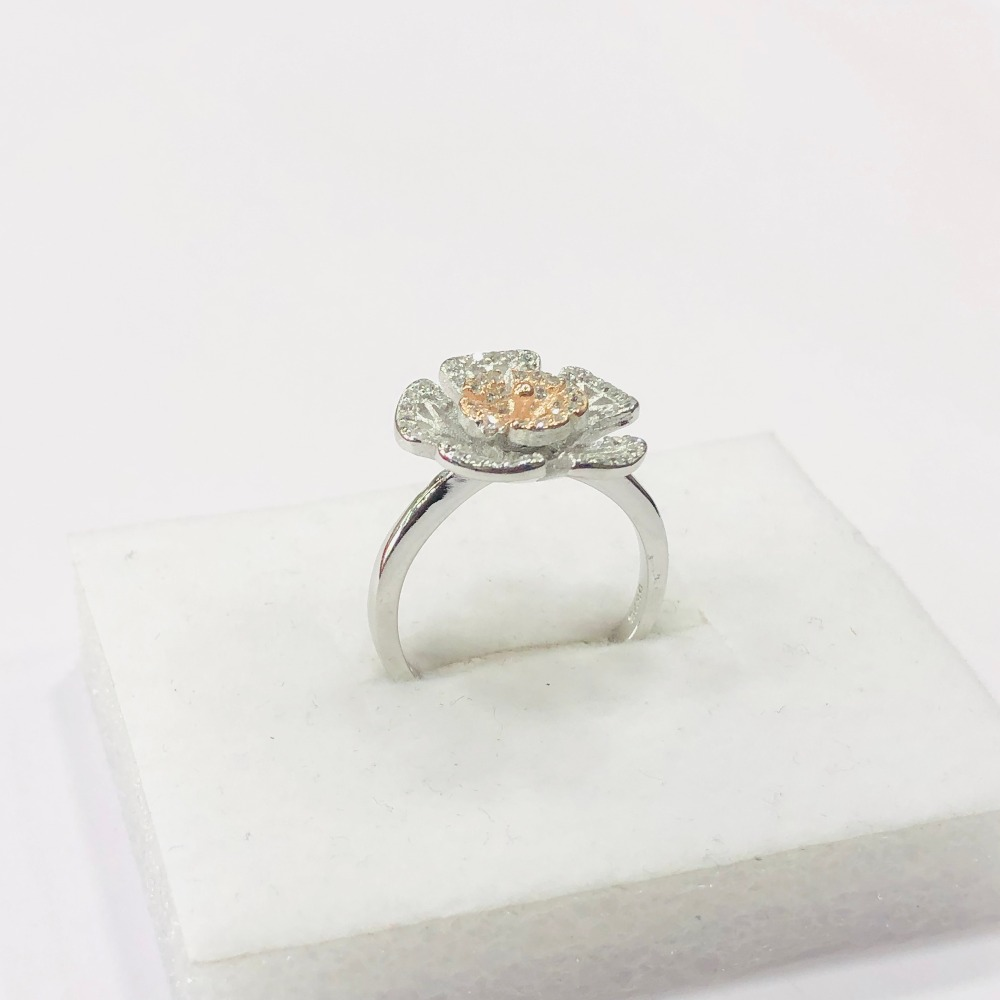 925 sterling silver floral ring for women