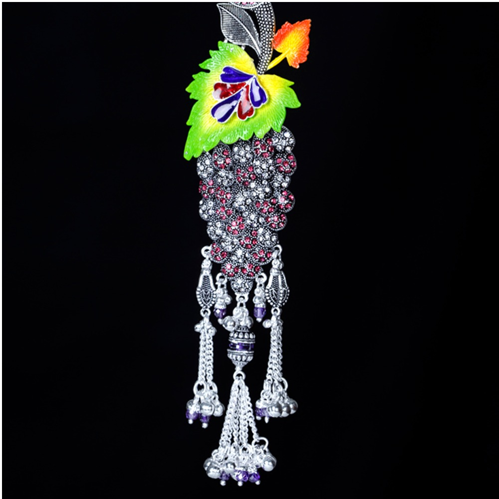 Silver Fancy Colourful Leaf Design Juda Waist Keychain