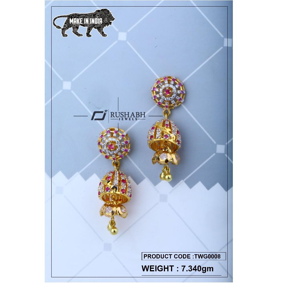 18 carat Gold ladies zummer  tops  long earrings twg0008