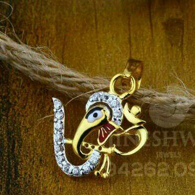 18kt Cz Gold fancy Ganpati Pendant
