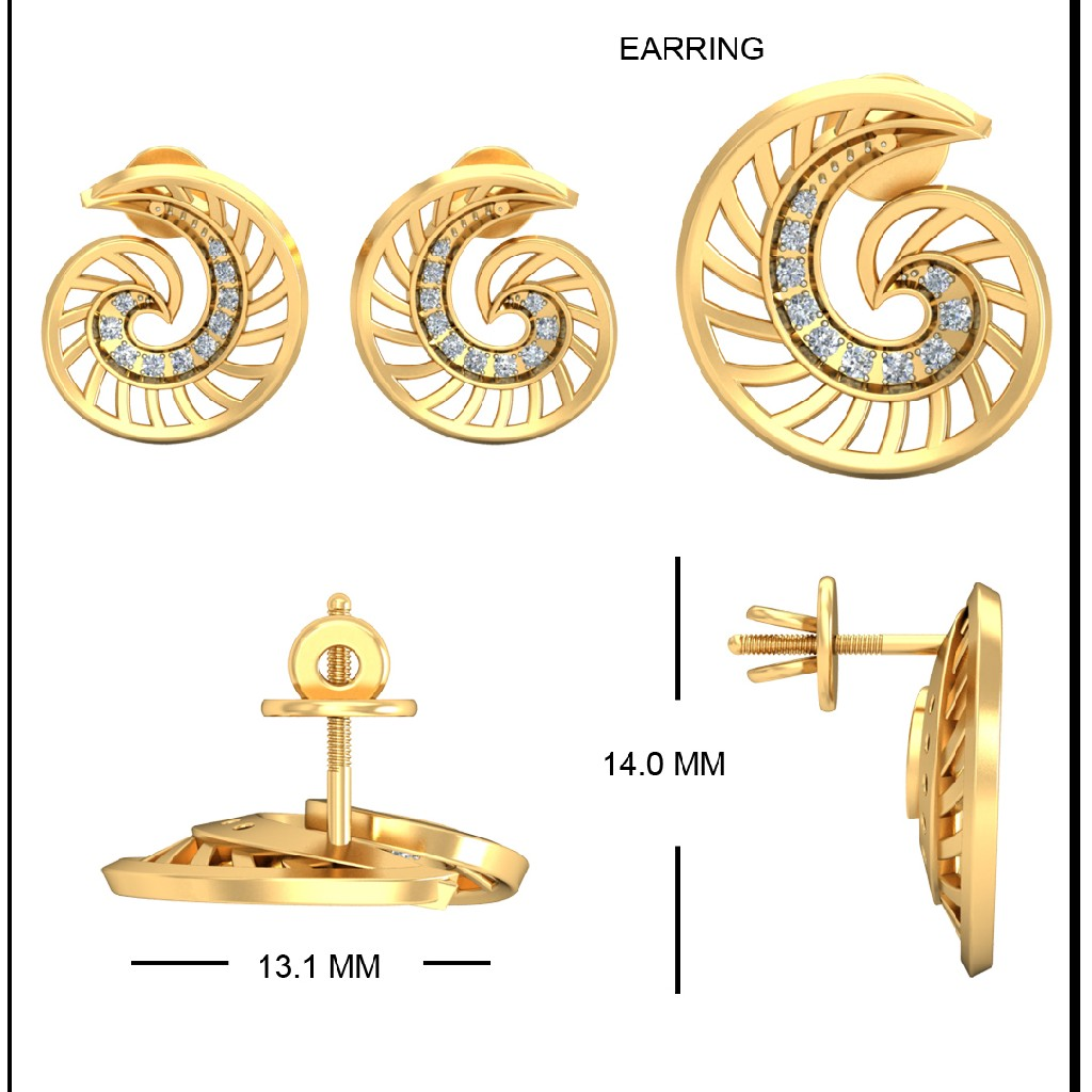 22Kt Yellow Gold Andrina Earrings For Women