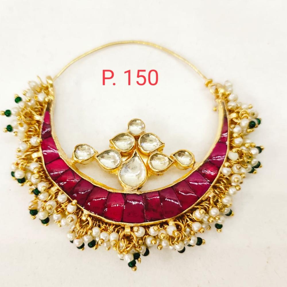 Gold tone Kundan & Ruby stone nose ring with hanging moti 1741