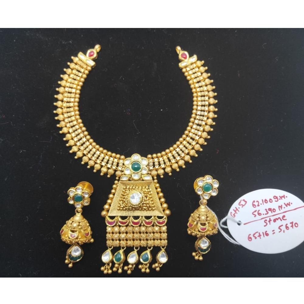 916 Gold Antique Bridal Necklace Set VJ-N011