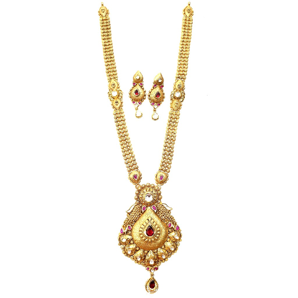 22k Gold Antique Long Necklace With Earrings MGA - GLS094