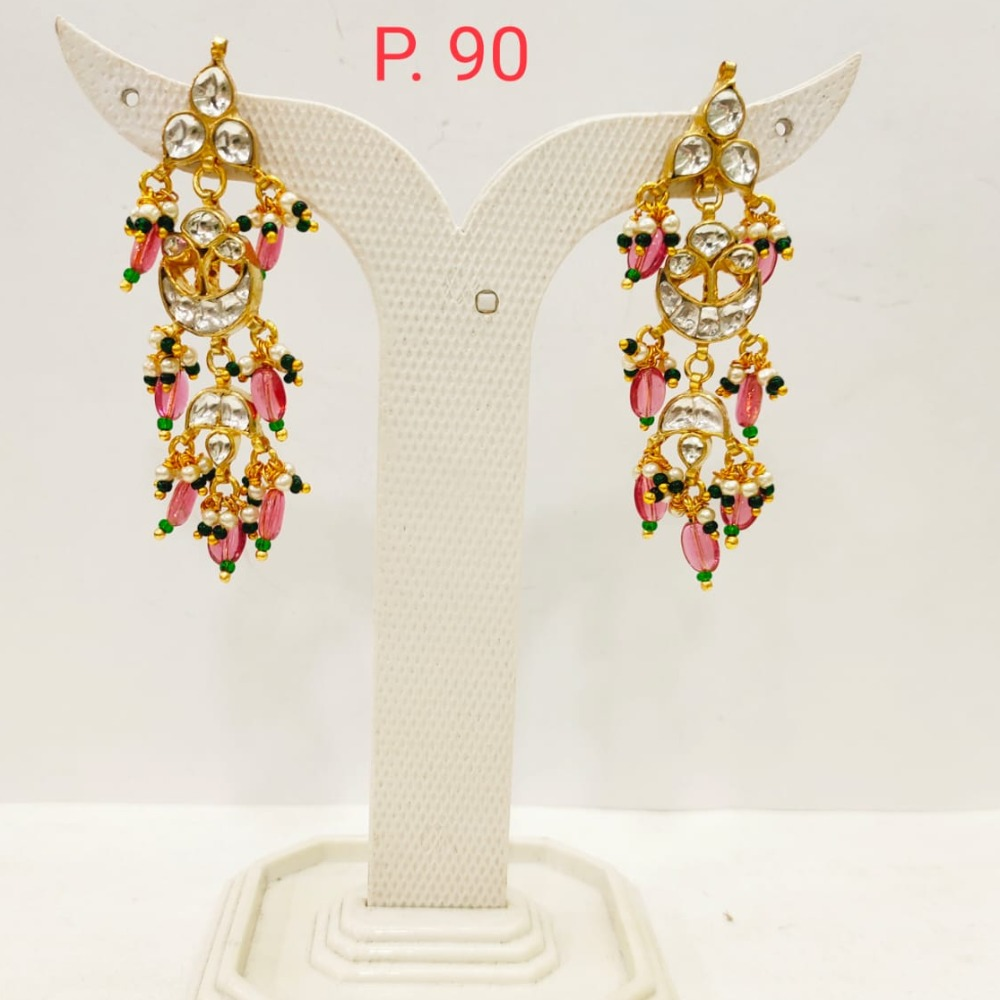 Gold plated Kundan Design Earring with hanging Pink Pearl 1708