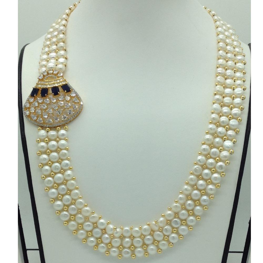 White,BlackCZ Stones BroachSet With ButtonJali Pearls Mala JPS0591
