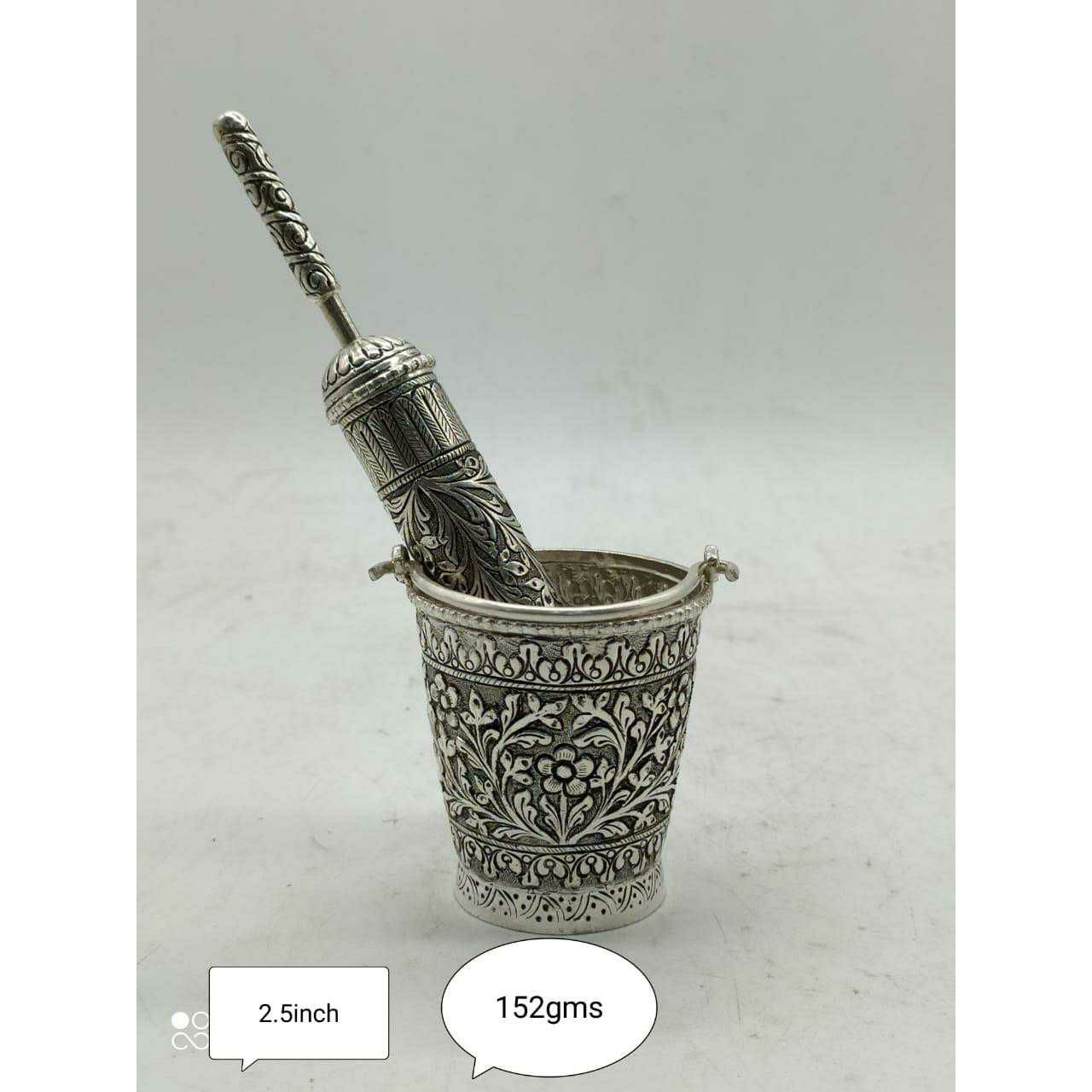 Sterling Silver Full Oxodize Handmade Nakshi Balti(Doll) & Pichkari Holi Dhuleti Full Set Ms-3580