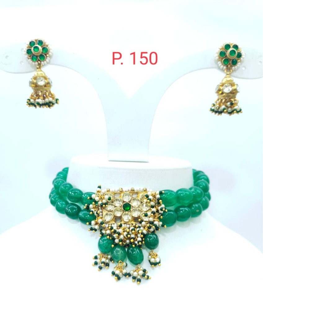 Full Choker with green beads and kundan work necklace set 1611