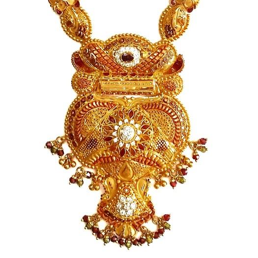 916 Gold CZ Diamond Minakari Necklace With Earrings MGA - GLS082