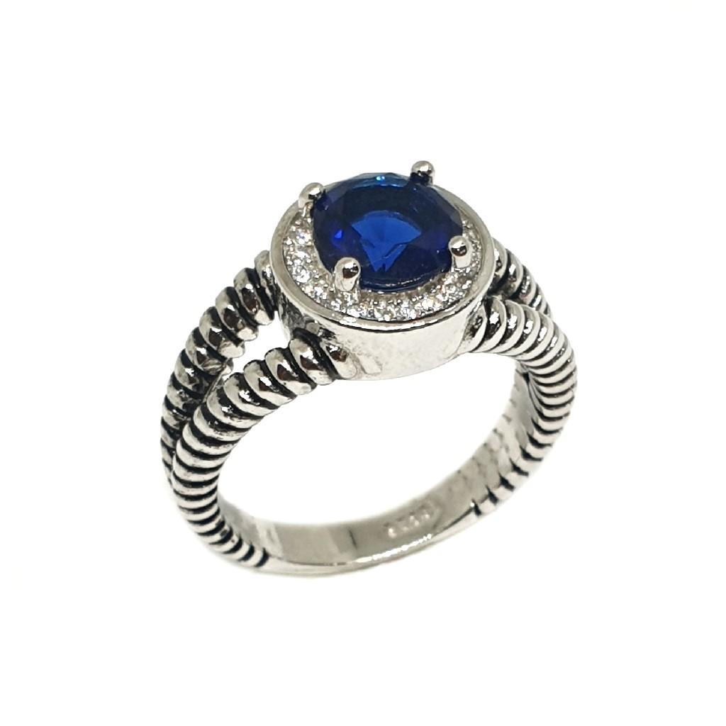 925 Sterling Silver Blue Diamond Ring MGA - LRS3376
