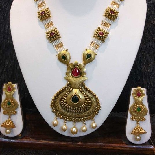 22kt gold rajwadi bridal antique set