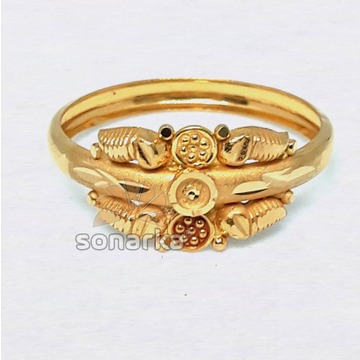 22k Plain Gold Ring Hollow Single Pipe Design for Women