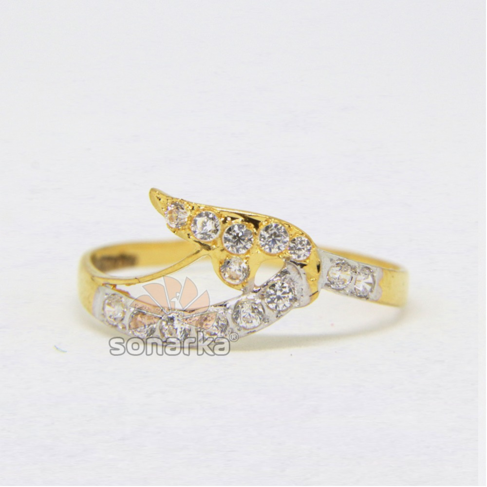 22ct Hallmarked Yellow Gold Casting CZ Diamond Ring with Rodihum