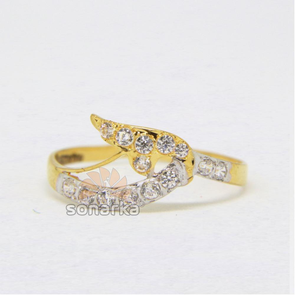 22ct Hallmarked Yellow Gold Casting CZ Diamond Ring with Rodihum