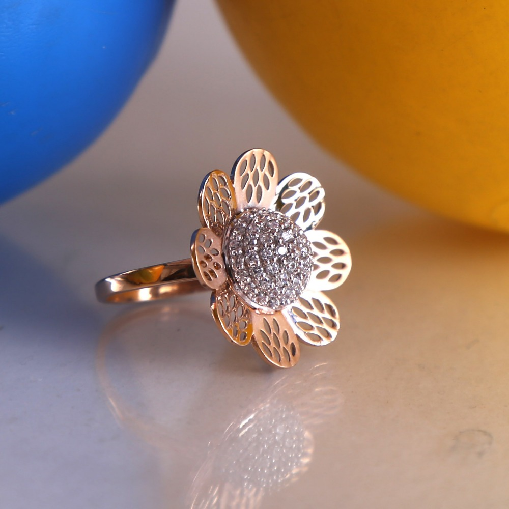 18ct rose gold cz daimond cocktail ladies ring