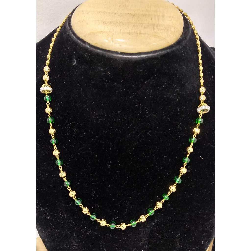 916 Gold Vertical Green Beaded Mala