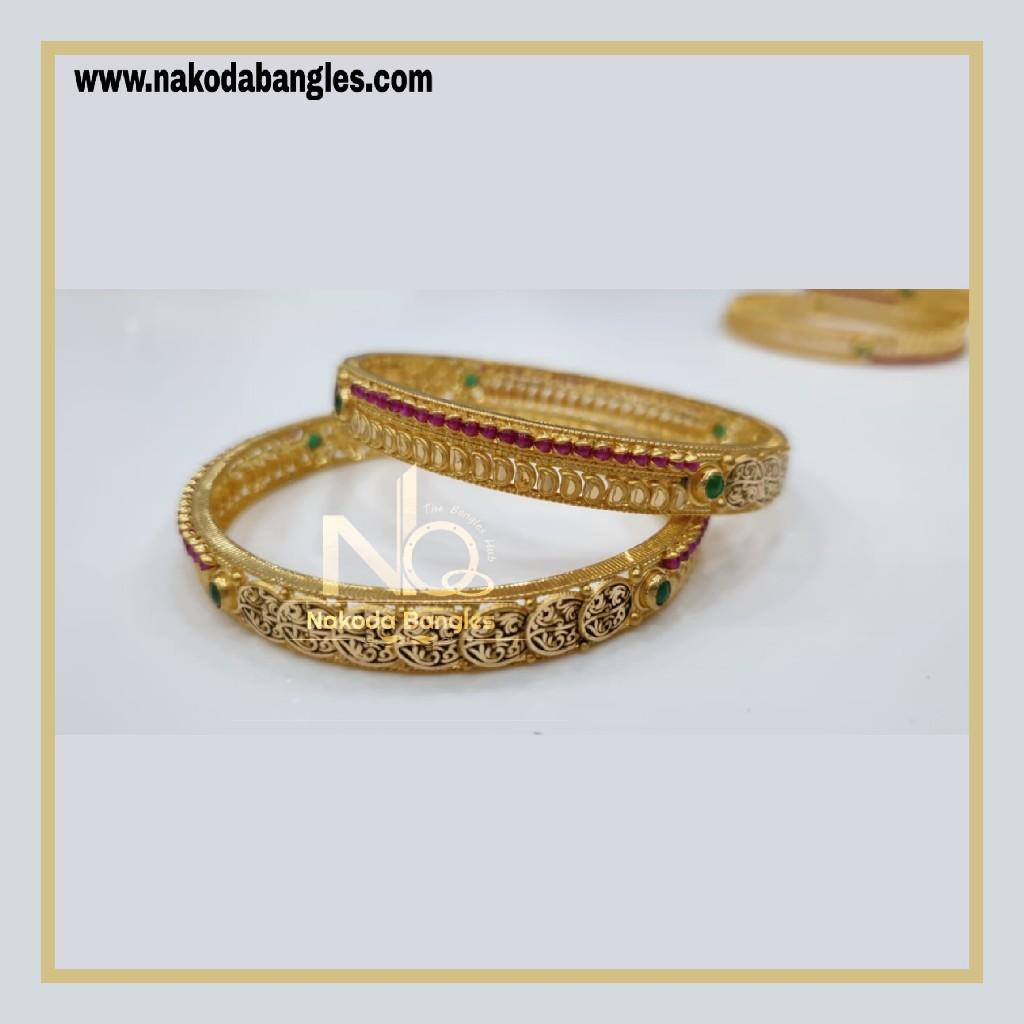 916 Gold Chakri Bangles NB - 861
