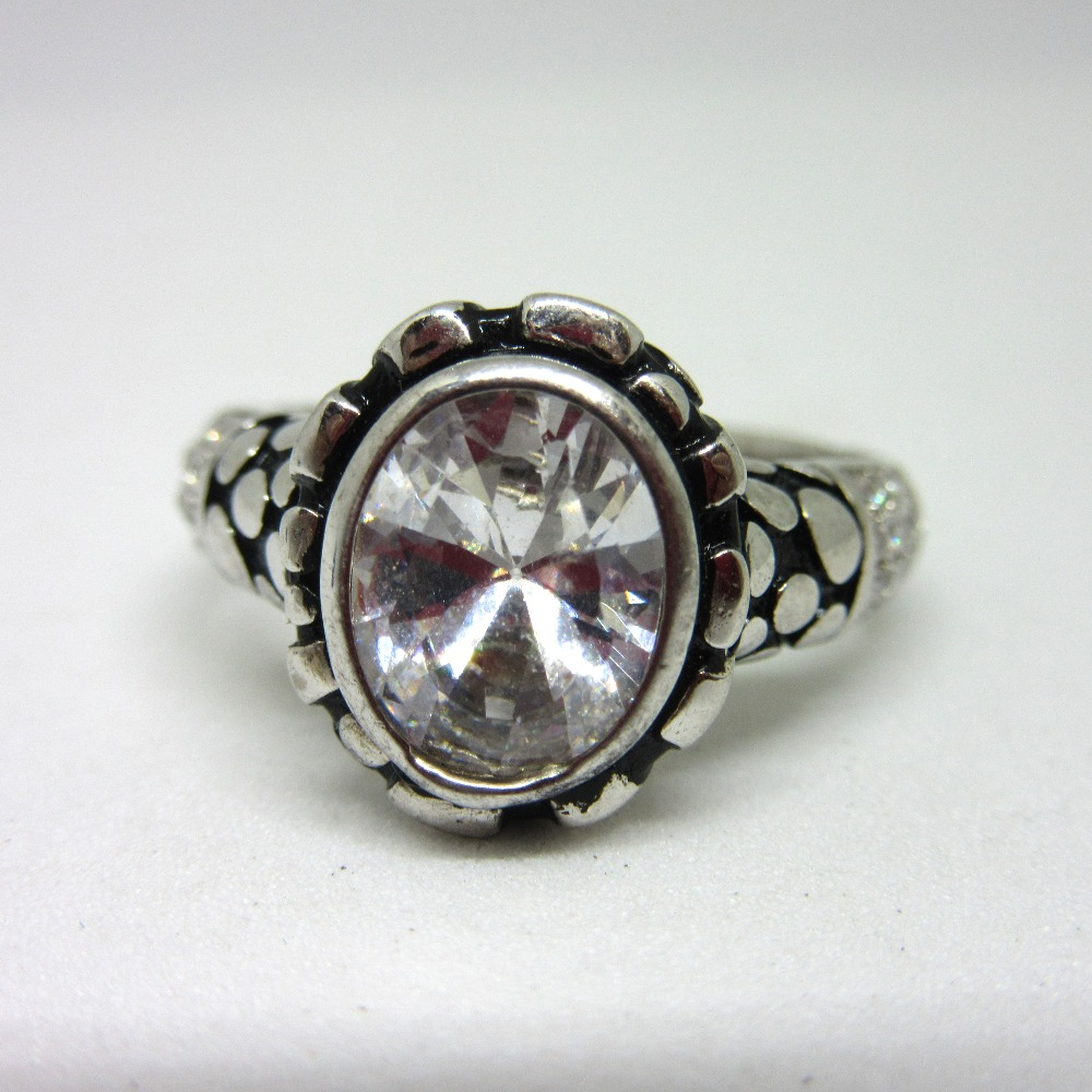 Silver 925 single stone oxidised ring for gents sr925-208