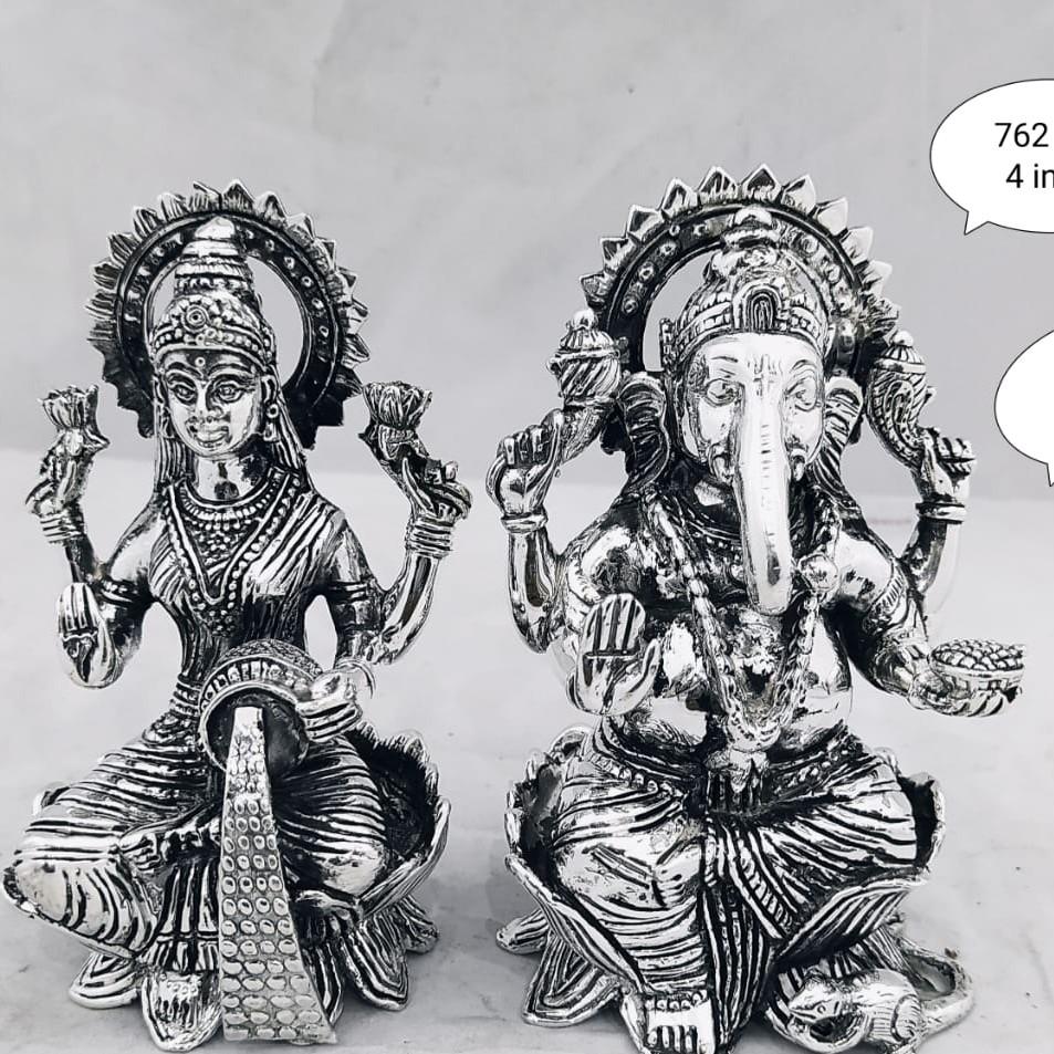 Silver laxmi and ganesh idol jys0020