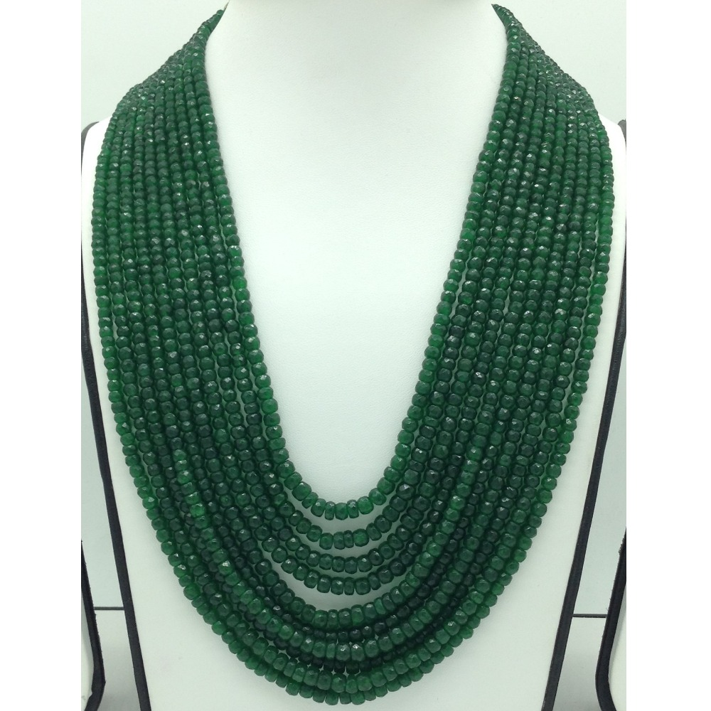 Natural Green BarielsRound Faceted 10Layers Necklace JSS0131