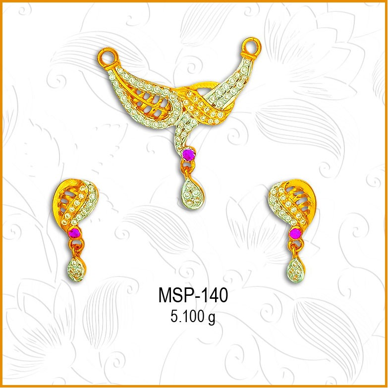 22KT Gold Fancy CZ Mangalsutra Pendant Set MSP-140