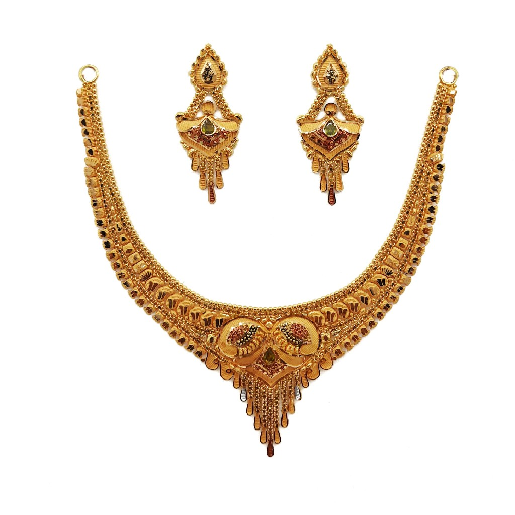 22K Gold Culcutti Necklace with Earrings NSG0047