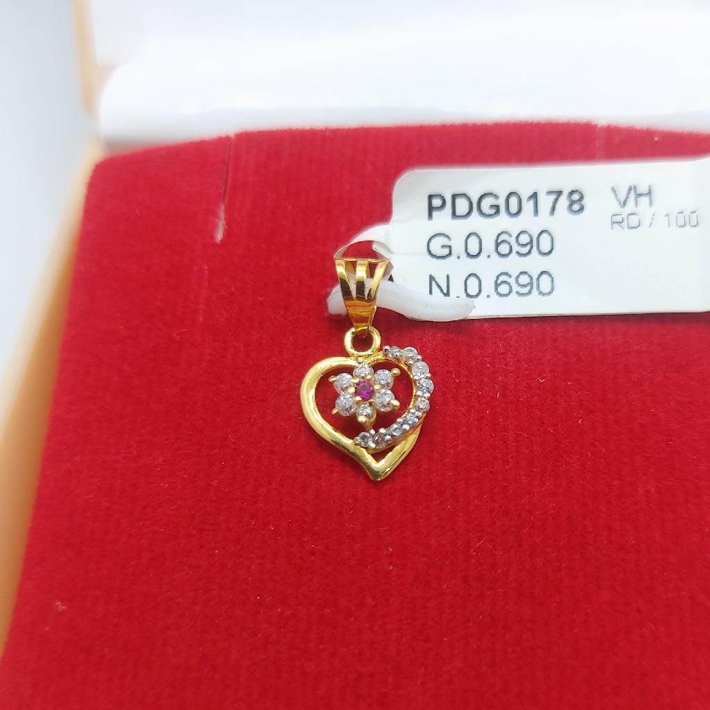 22ct Heart flower pendant