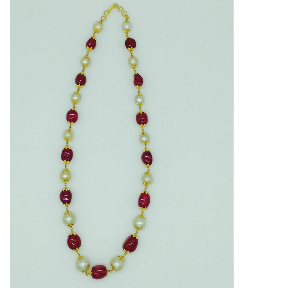 South sea pearls with ruby tumbles gold taar necklace jgt0005