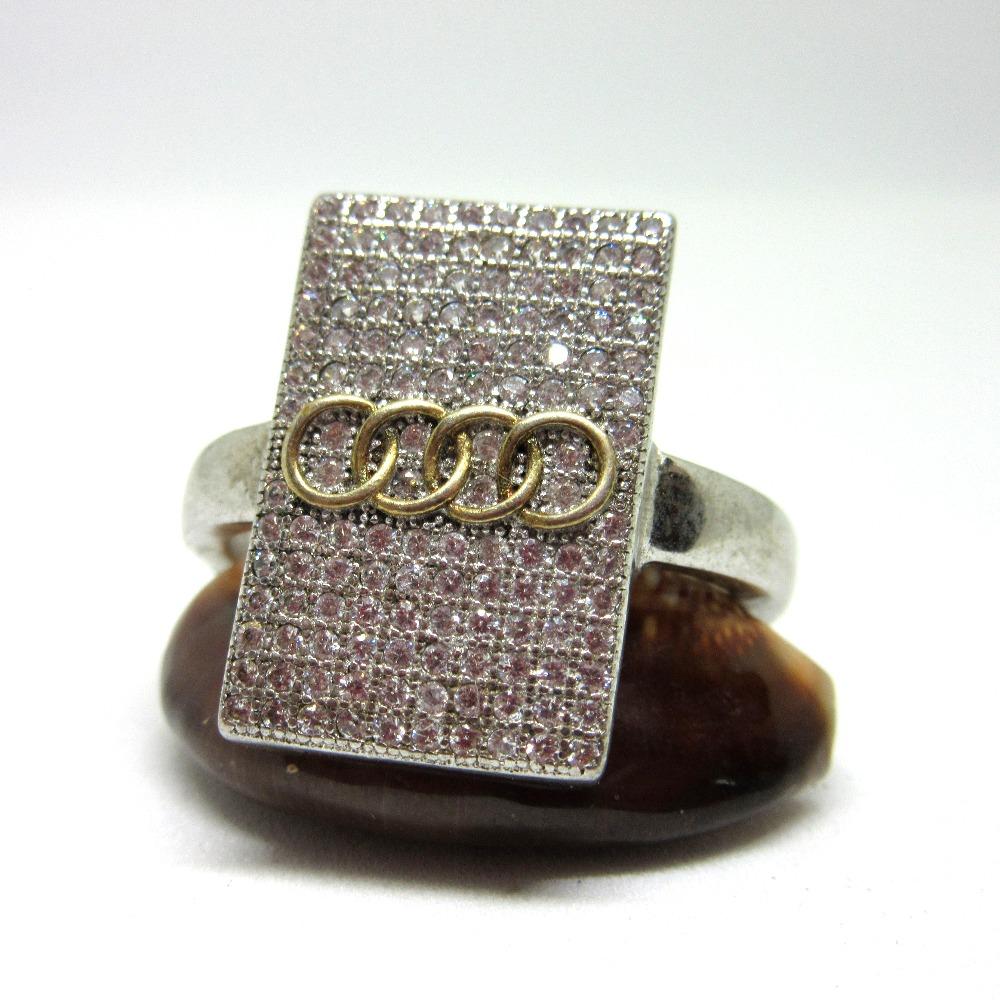 Silver 925 audi logo ring for gents sr925-112