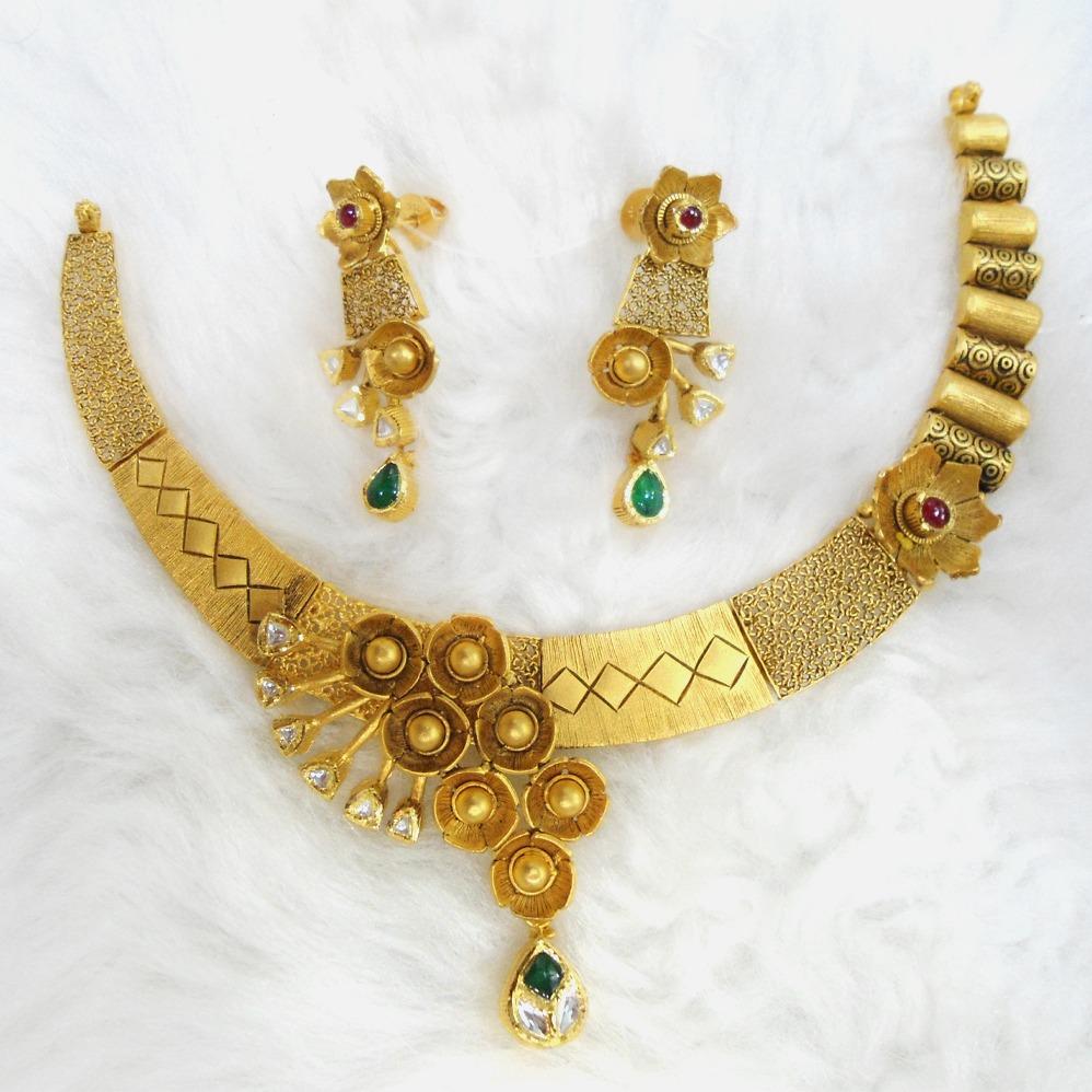 916 Gold Antique Necklace Set RHJ-5584