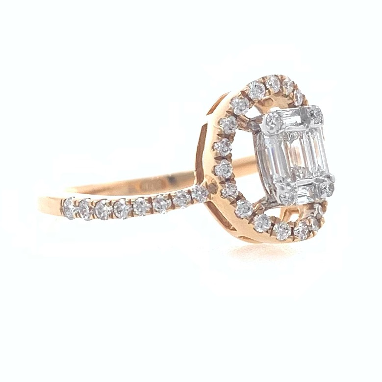 18kt / 750 rose gold solitaire look classic diamond ladies ring 9lr109