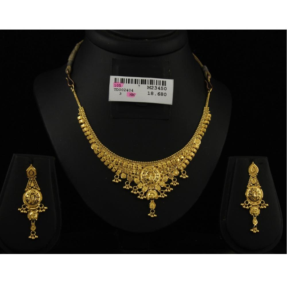 22Kt Gold Kalkatti Design Necklace Set