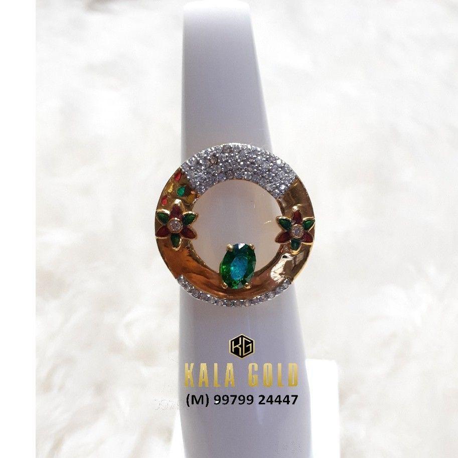 916 Green Stone Cz Ladies Ring With Meena