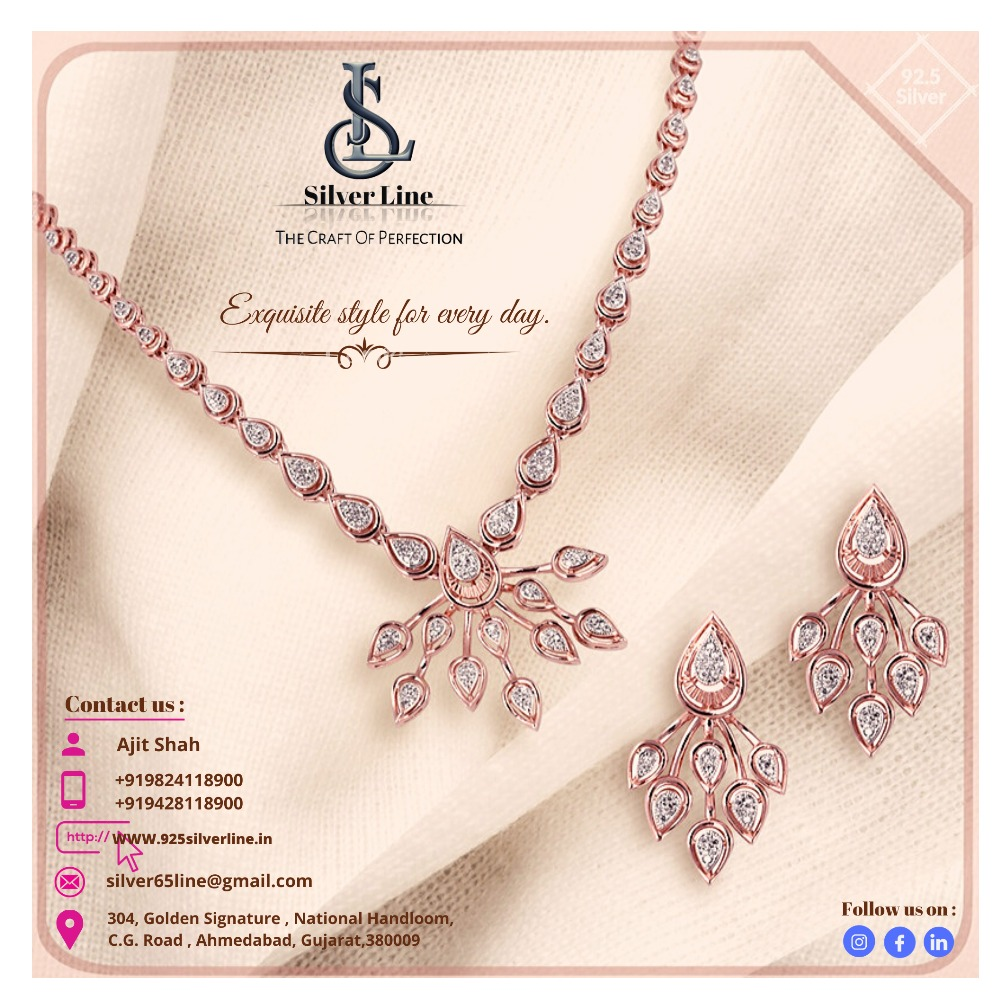 Best Design with extraordinary Craftmanship 92.5 Silver Rosegold Necklace