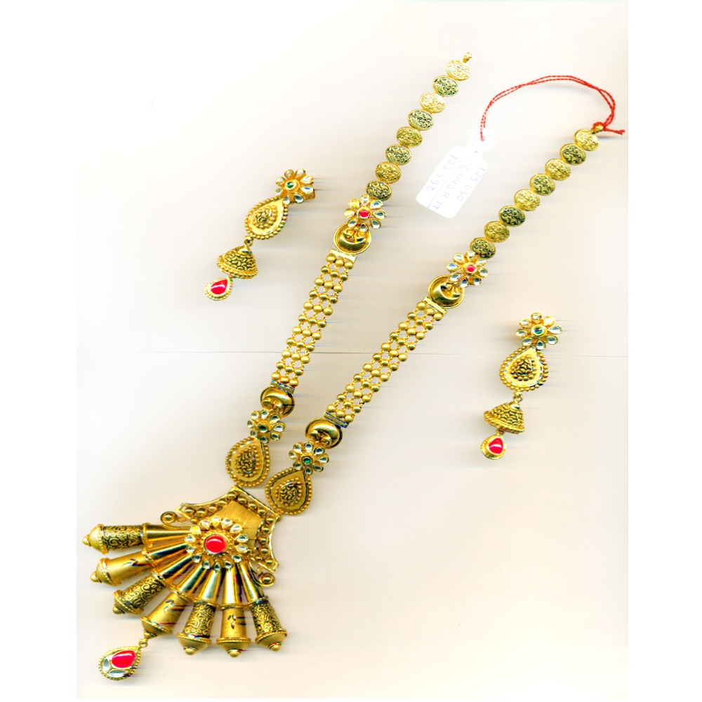 22KT Gold Fancy Design Bridal Long Necklace Set-30