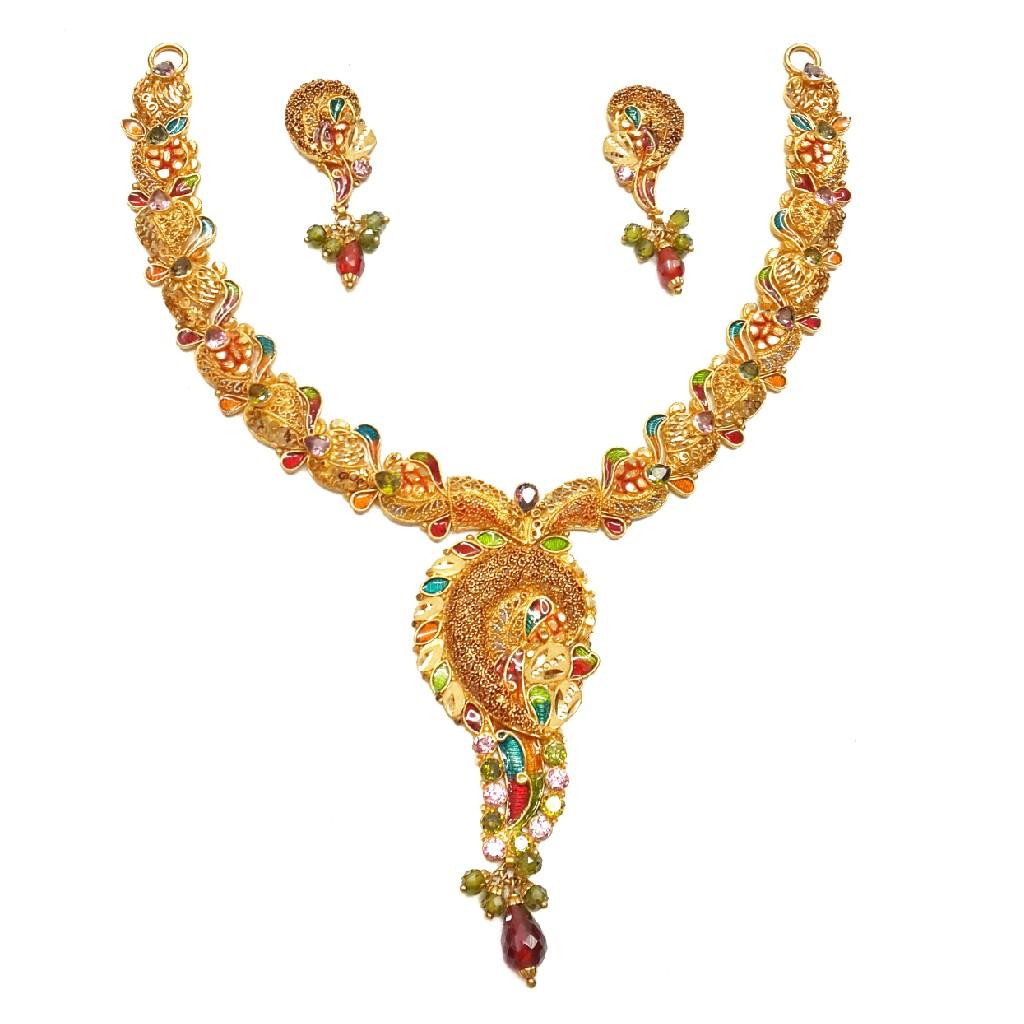 22k Gold Modern Style Minakari Necklace Set MGA - GN063