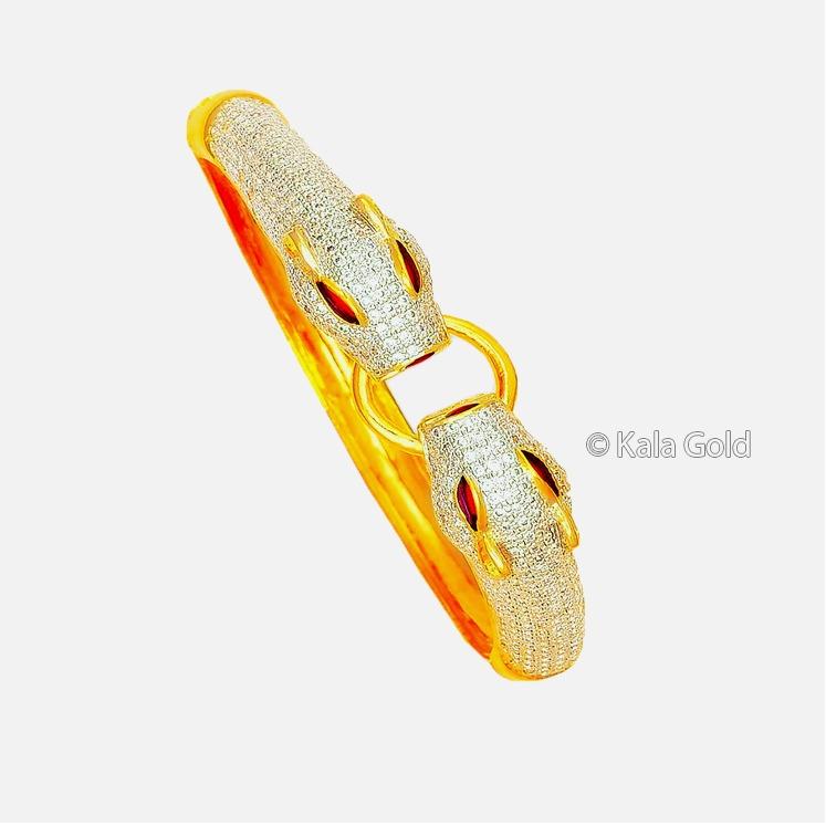 916 Gold Antique Diamond CZ Kada Bangle