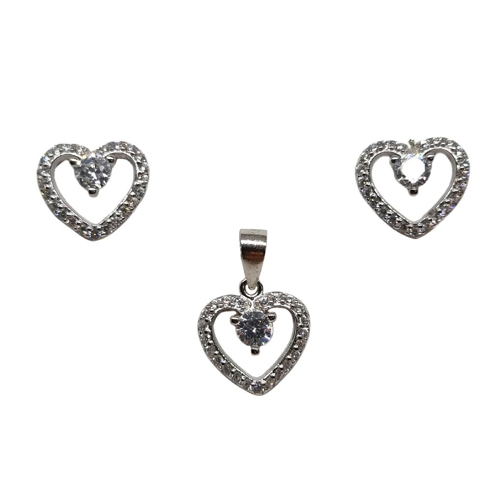 925 Sterling Silver Heart Shape Designer Pendant Set MGA - PDS0201