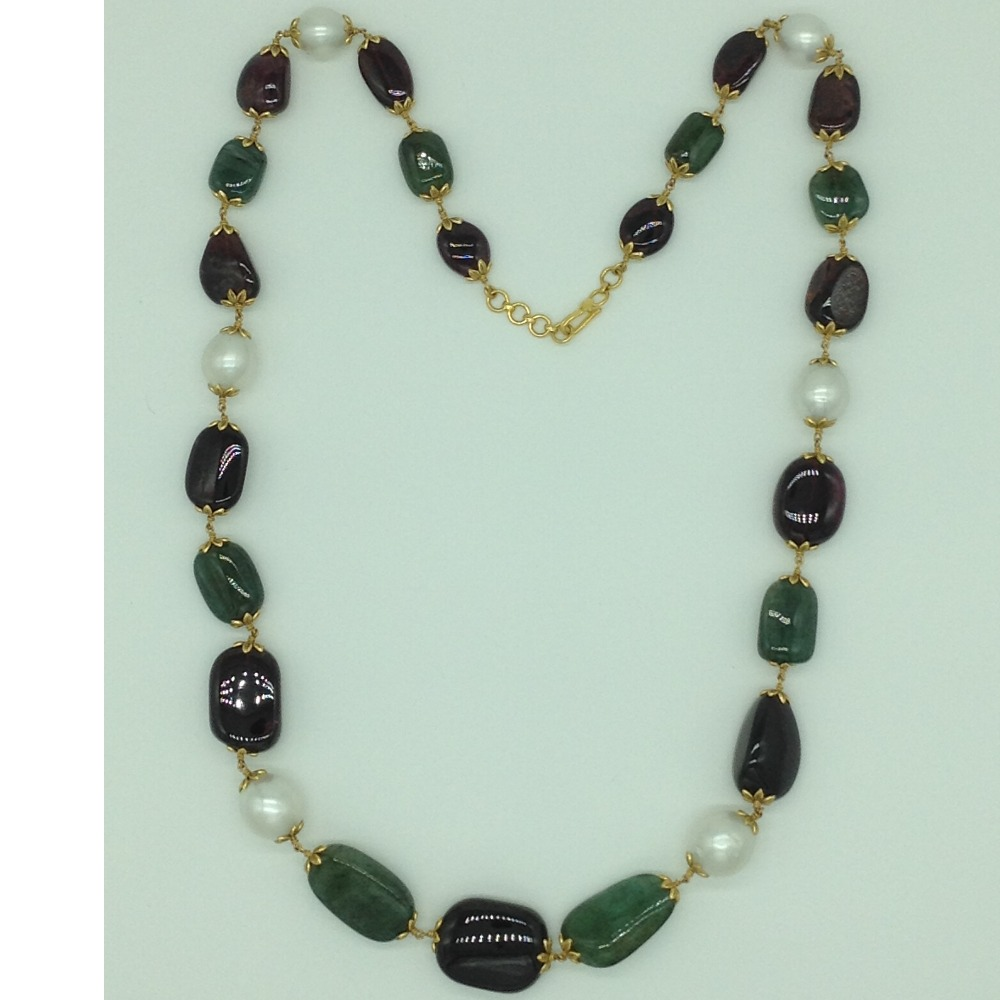White South Sea Round Pearls With Emerald And TormalineOval Tumbles Gold Taar Necklace JGT0002