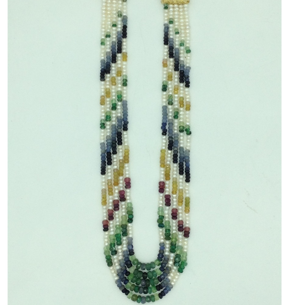 White FlatPearls with Multicolour Stones 5Layers Necklace JPM0428