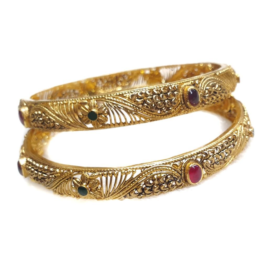 916 Gold Antique Kada Bangles MGA - GP075