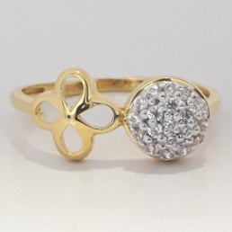 916 cz gold exclusive ring for ladies