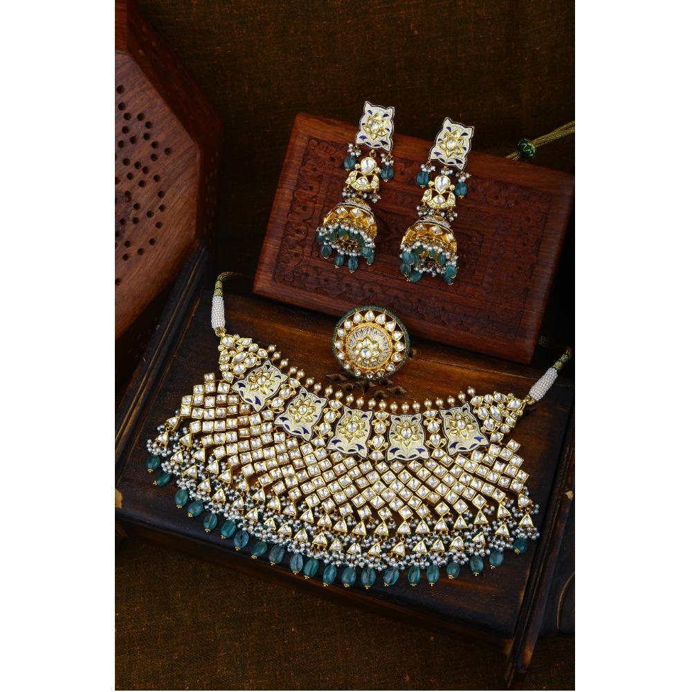 22KT Gold Designer Kundan Wedding Necklace Set