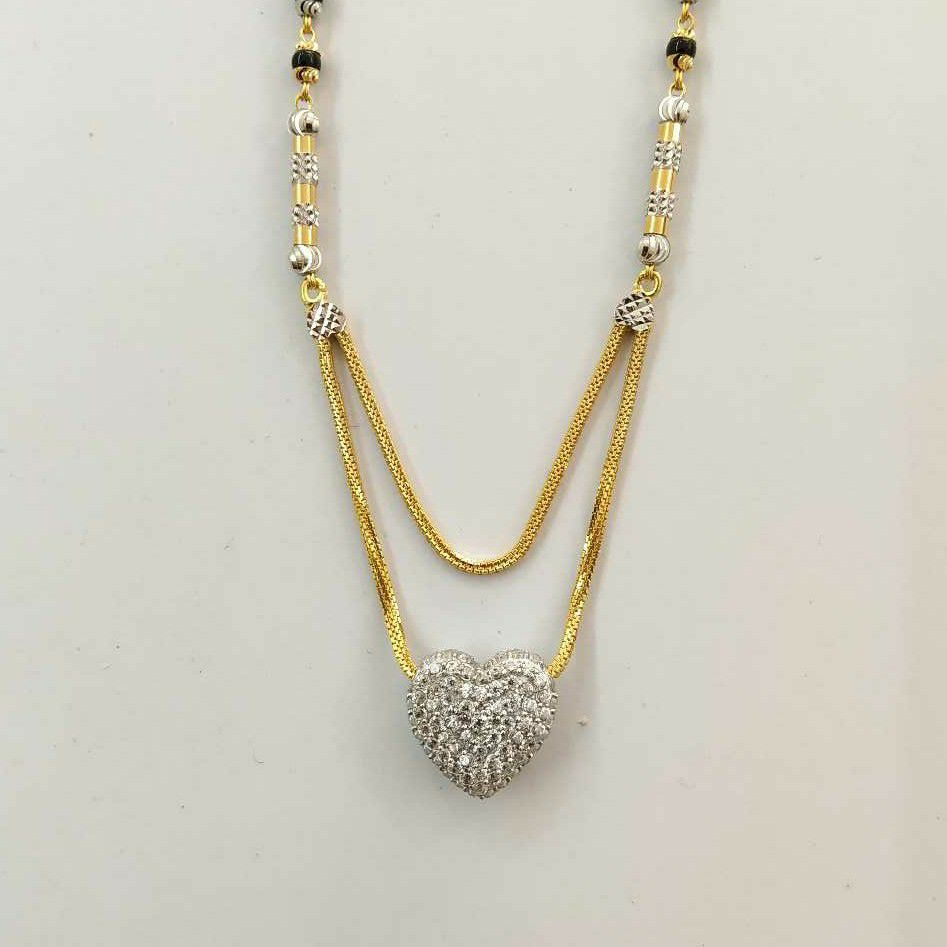 22k Gold Cz Heart Single Line Fancy Mangalsutra DVJ-021
