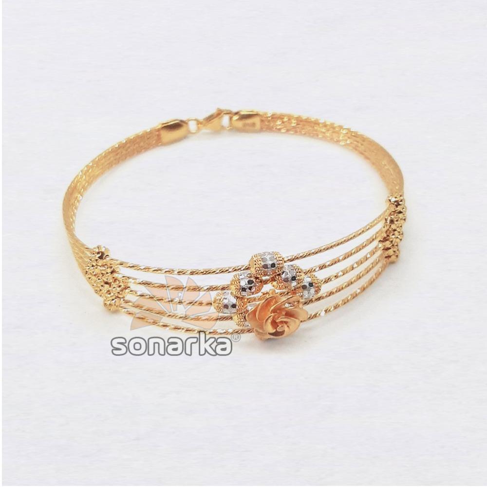 18k Floral CZ Rose Gold Bracelet SK - R001