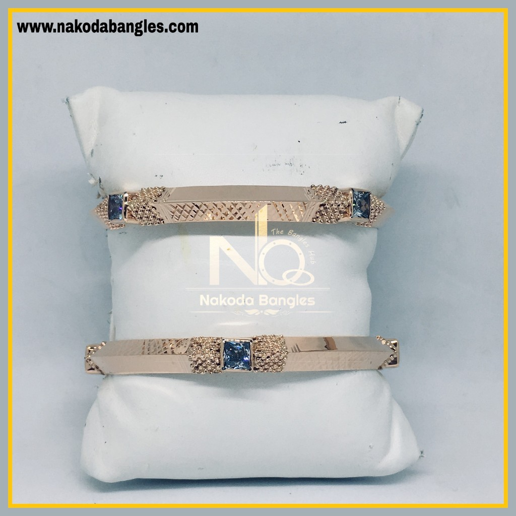 916 Gold Rose Gold Stone Fancy Bangles NB - 447